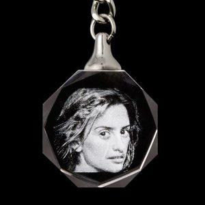 2D Engraved Photo Round Keychain